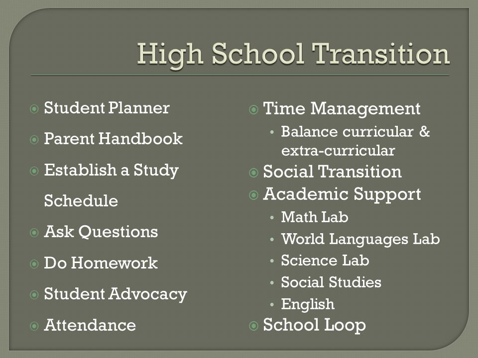  Student Planner  Parent Handbook  Establish a Study Schedule  Ask Questions  Do Homework  Student Advocacy  Attendance  Time Management Balance curricular & extra-curricular  Social Transition  Academic Support Math Lab World Languages Lab Science Lab Social Studies English  School Loop