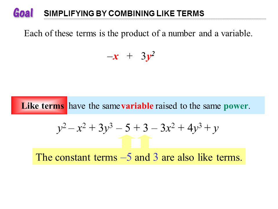 S IMPLIFYING BY C OMBINING L IKE T ERMS Each of these terms is the product of a number and a variable.terms +–3y2y2 x +–3y2y2 x number +–3y2y2 x varia