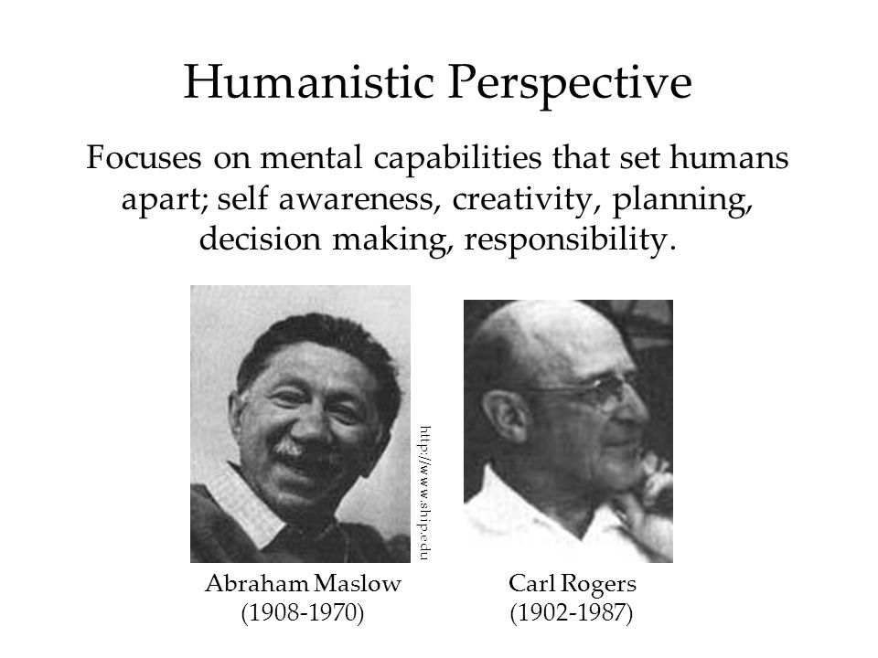 Humanistic Perspective Focuses on mental capabilities that set humans apart; self awareness, creativity, planning, decision making, responsibility. Ab