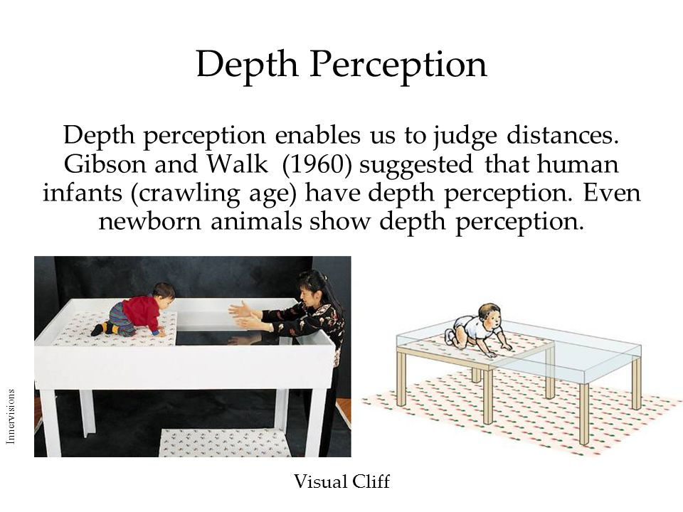Depth Perception Visual Cliff Depth perception enables us to judge distances. Gibson and Walk (1960) suggested that human infants (crawling age) have