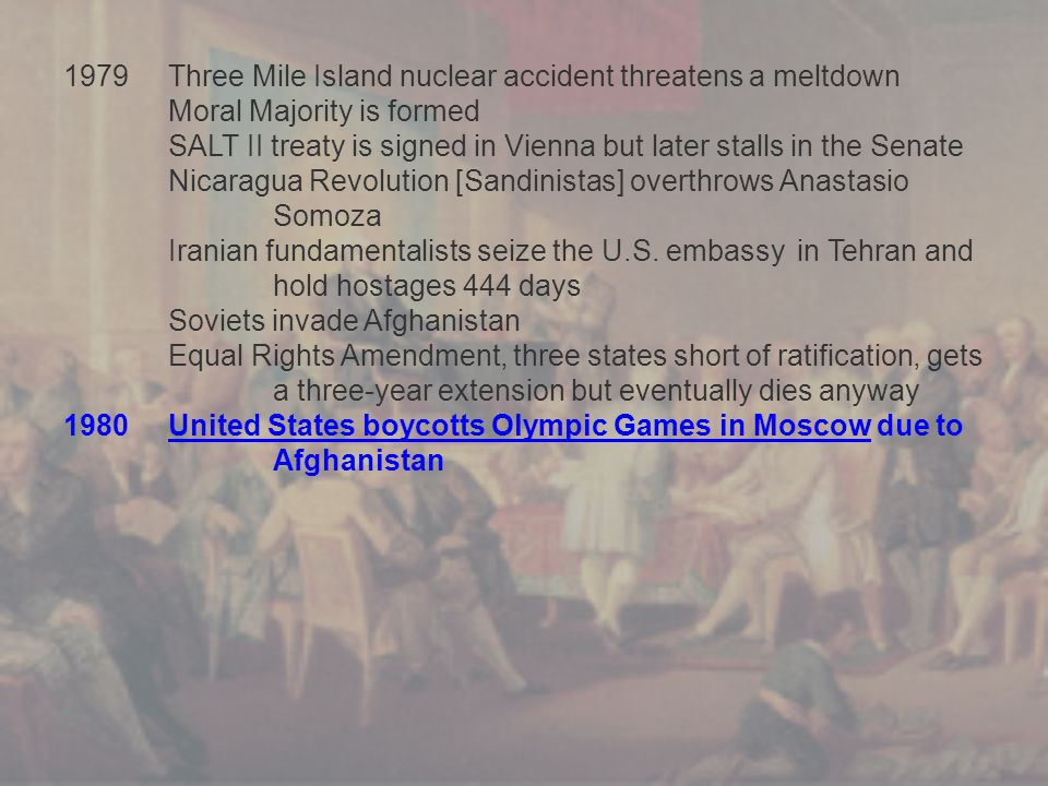 1979Three Mile Island nuclear accident threatens a meltdown Moral Majority is formed SALT II treaty is signed in Vienna but later stalls in the Senate Nicaragua Revolution [Sandinistas] overthrows Anastasio Somoza Iranian fundamentalists seize the U.S.