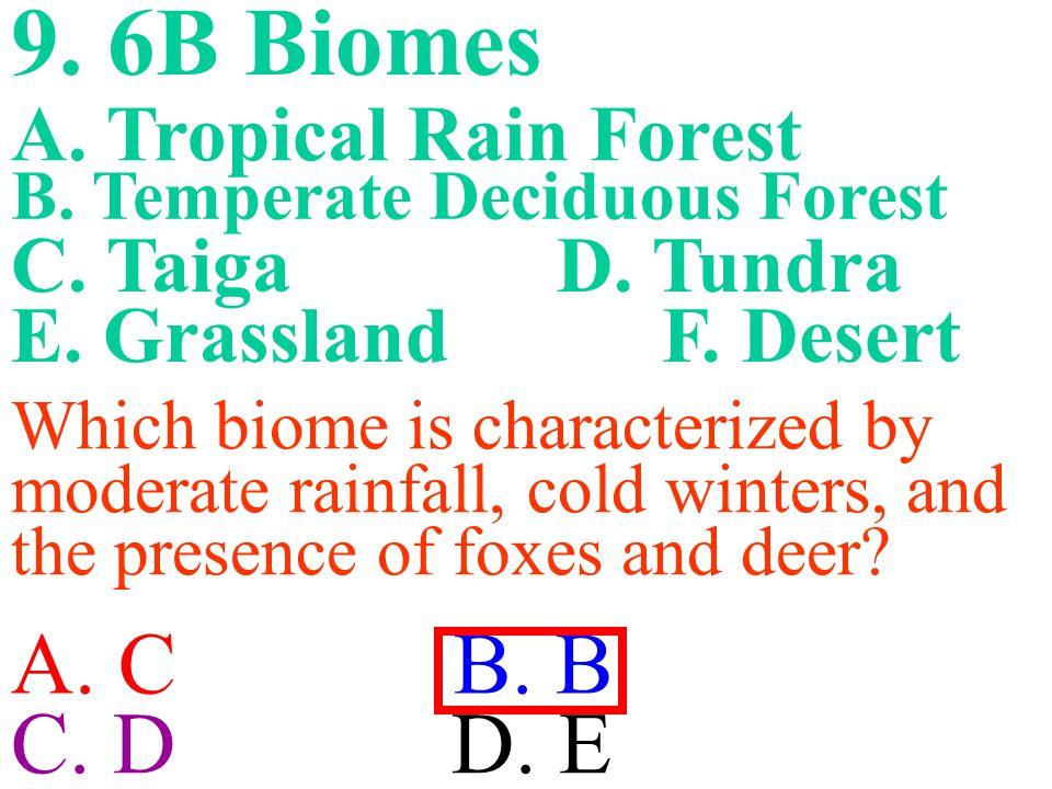 9.6B Biomes A. C B. B C. D D. E B. Temperate Deciduous Forest A.