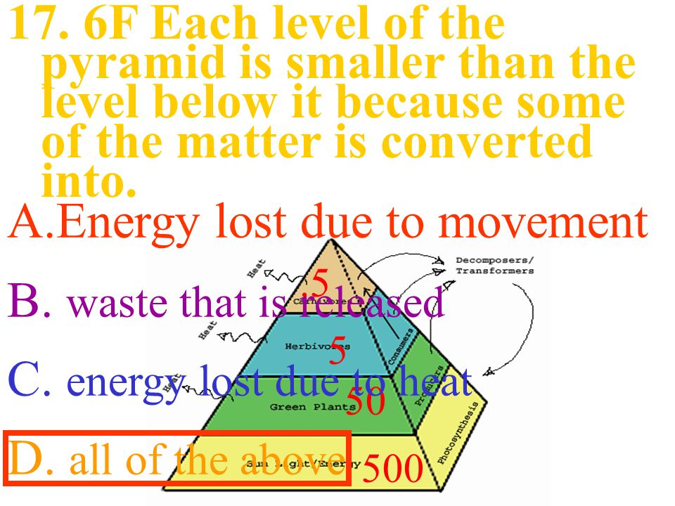 500 5 50.5 A.Energy lost due to movement B.waste that is released C.