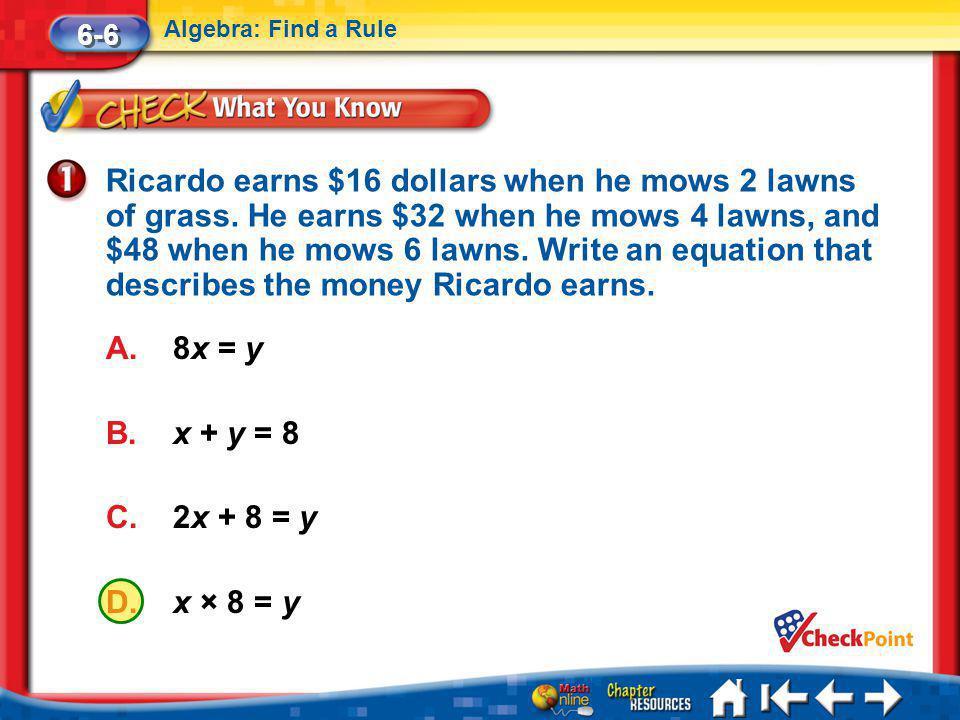 Lesson 6 CYP1 6-6 Algebra: Find a Rule A.8x = y B.