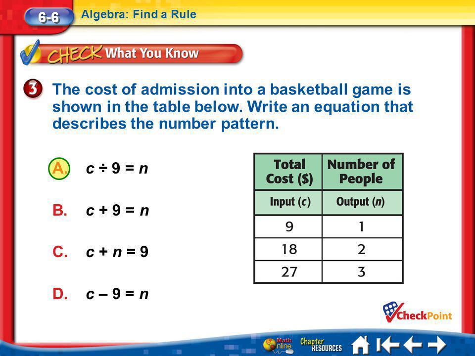 Lesson 6 CYP3 6-6 Algebra: Find a Rule A.c ÷ 9 = n B.