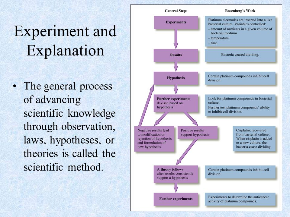 Experiment and Explanation The general process of advancing scientific knowledge through observation, laws, hypotheses, or theories is called the scientific method.