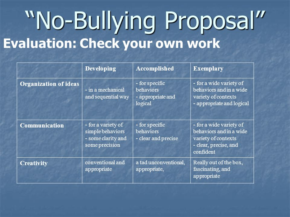 """No-Bullying Proposal"" Evaluation: Check your own work DevelopingAccomplishedExemplary Organization of ideas - in a mechanical and sequential way - fo"