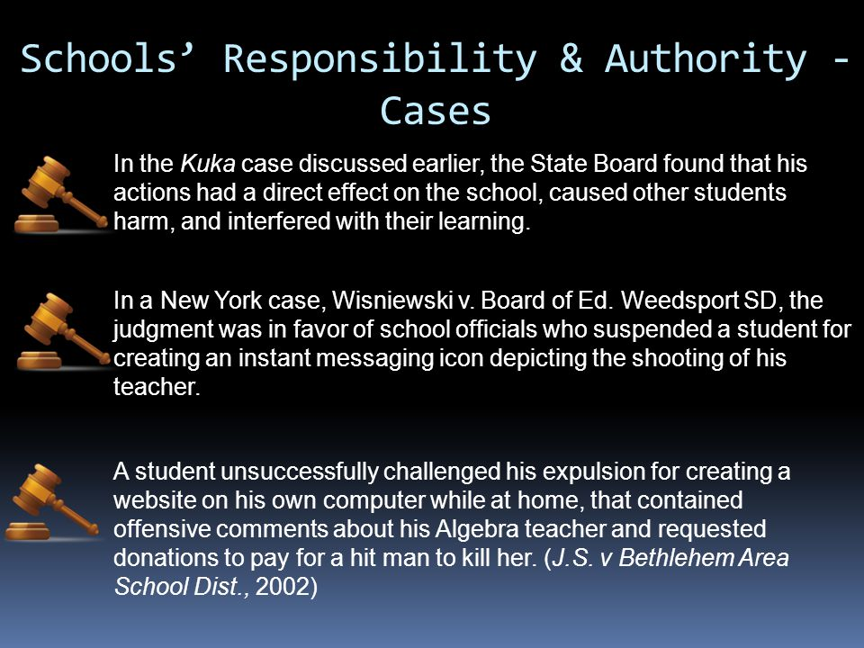 Schools' Responsibility & Authority - Cases In the Kuka case discussed earlier, the State Board found that his actions had a direct effect on the scho