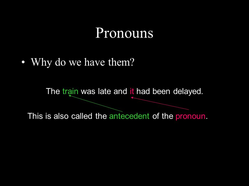 Pronouns Why do we have them? The train was late and it had been delayed. This is also called the antecedent of the pronoun.