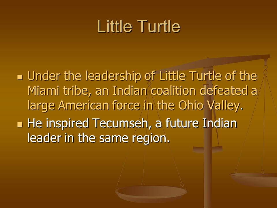 Little Turtle Under the leadership of Little Turtle of the Miami tribe, an Indian coalition defeated a large American force in the Ohio Valley. Under