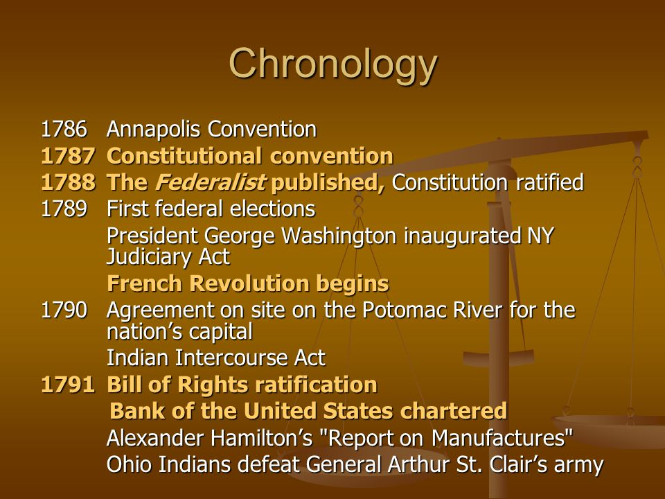 Chronology 1786 Annapolis Convention 1787 Constitutional convention 1788 The Federalist published, Constitution ratified 1789 First federal elections
