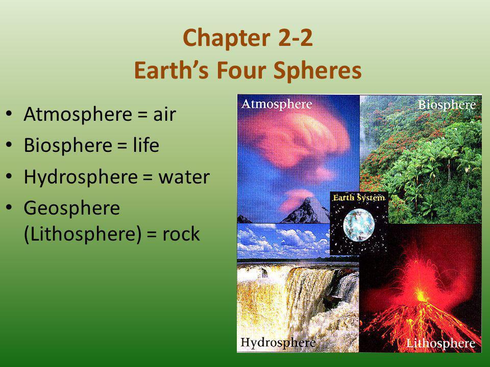 Chapter 2-2 Earth's Four Spheres Atmosphere = air Biosphere = life Hydrosphere = water Geosphere (Lithosphere) = rock