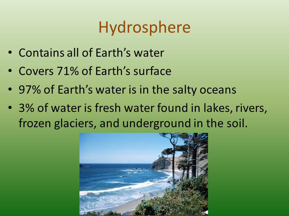 Hydrosphere Contains all of Earth's water Covers 71% of Earth's surface 97% of Earth's water is in the salty oceans 3% of water is fresh water found in lakes, rivers, frozen glaciers, and underground in the soil.