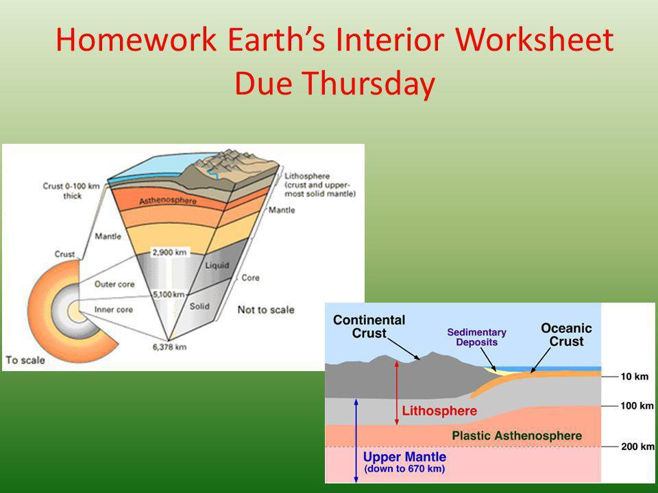 Homework Earth's Interior Worksheet Due Thursday