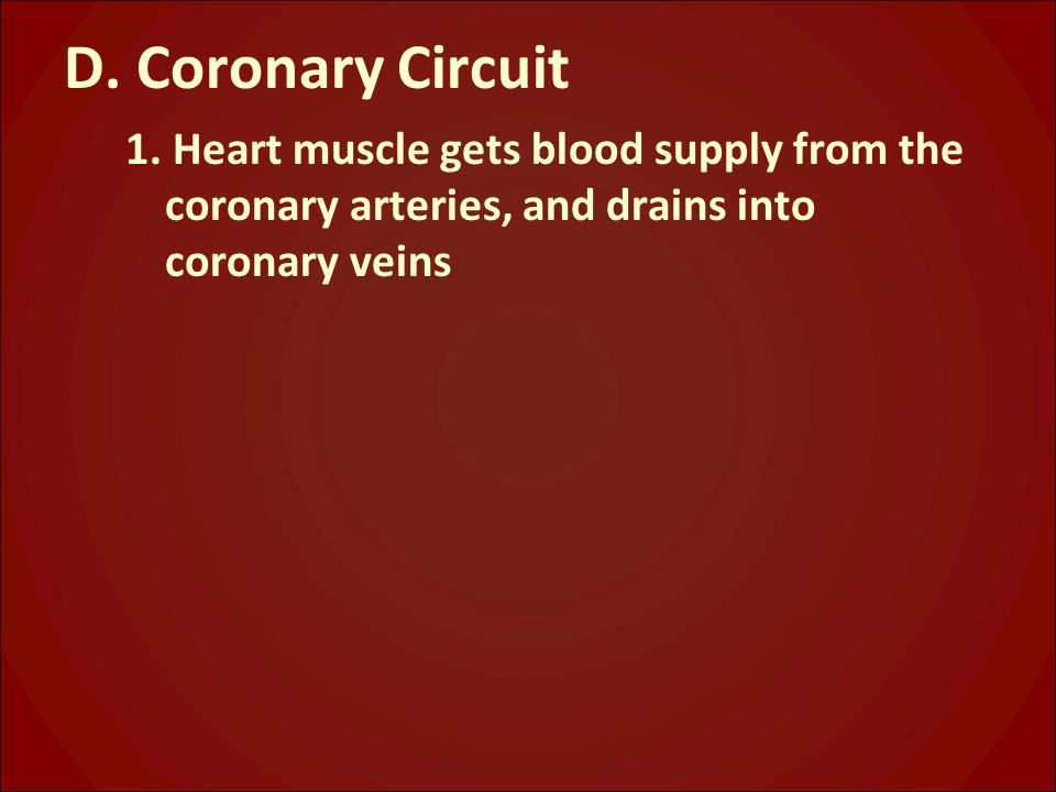 D. Coronary Circuit 1. Heart muscle gets blood supply from the coronary arteries, and drains into coronary veins