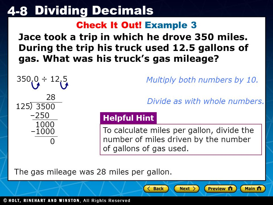 Holt CA Course 1 4-8 Dividing Decimals Check It Out.