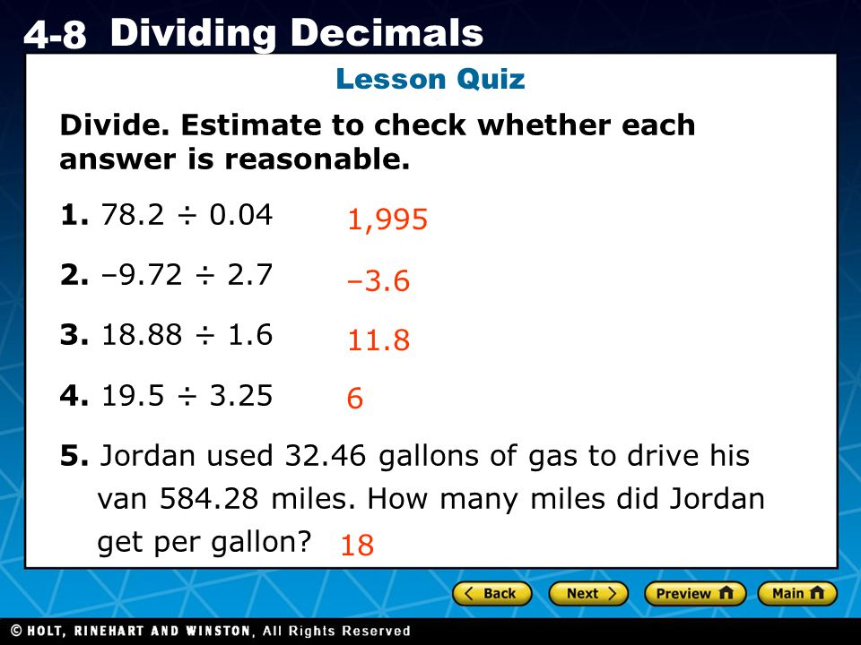 Holt CA Course 1 4-8 Dividing Decimals Lesson Quiz Divide.