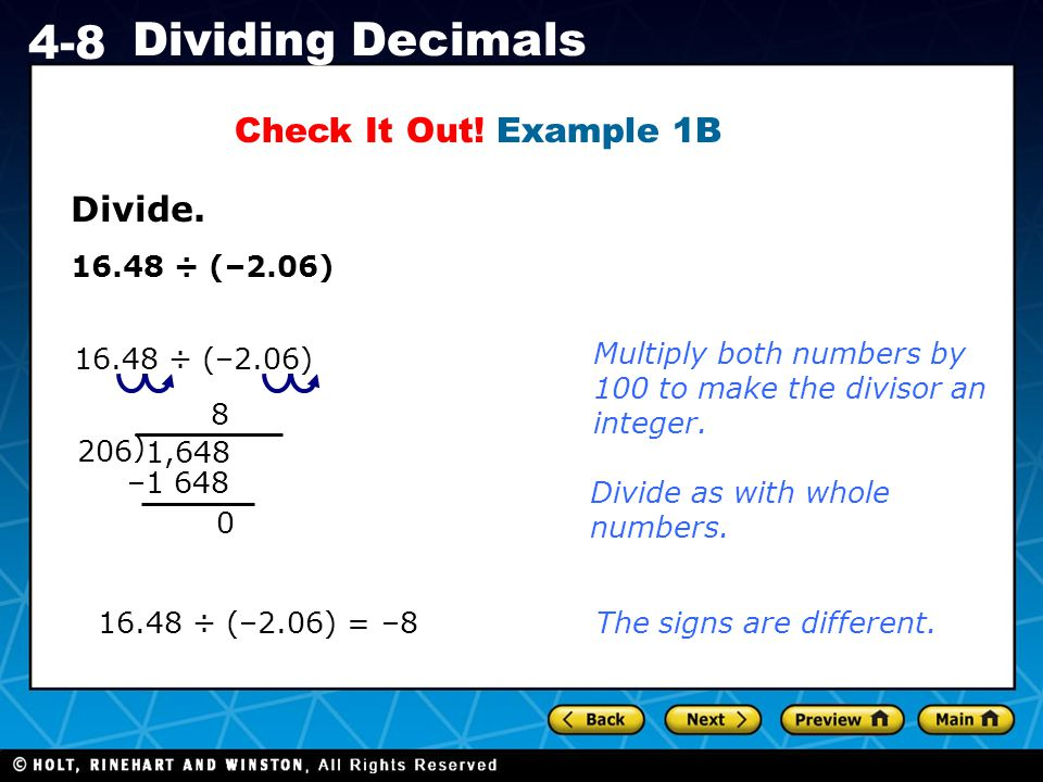 Holt CA Course 1 4-8 Dividing Decimals Divide.