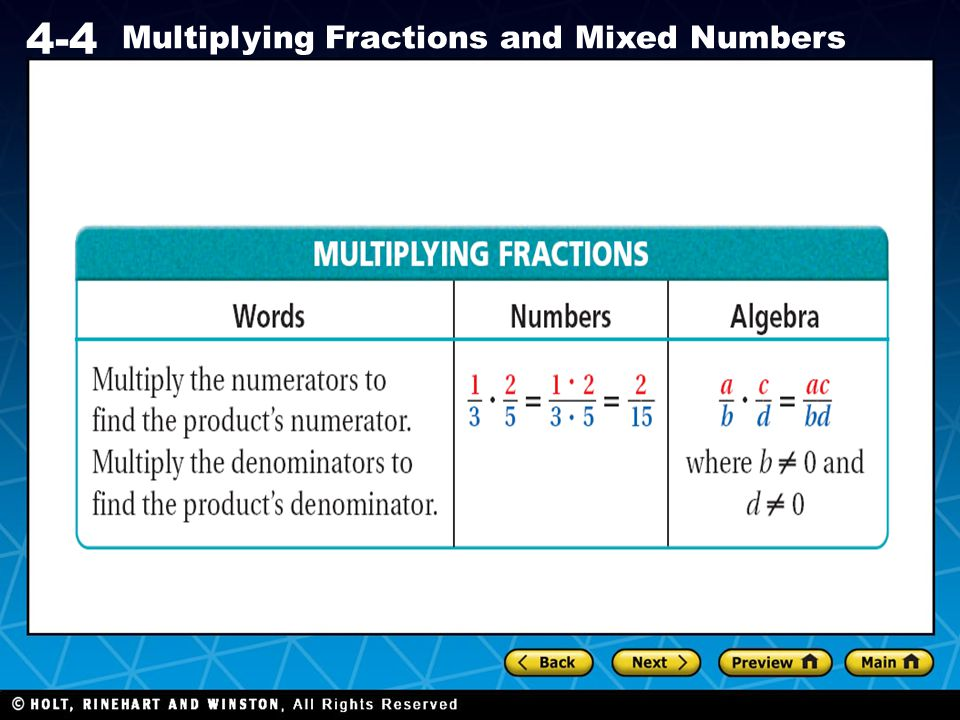 Holt CA Course 1 4-4 Multiplying Fractions and Mixed Numbers