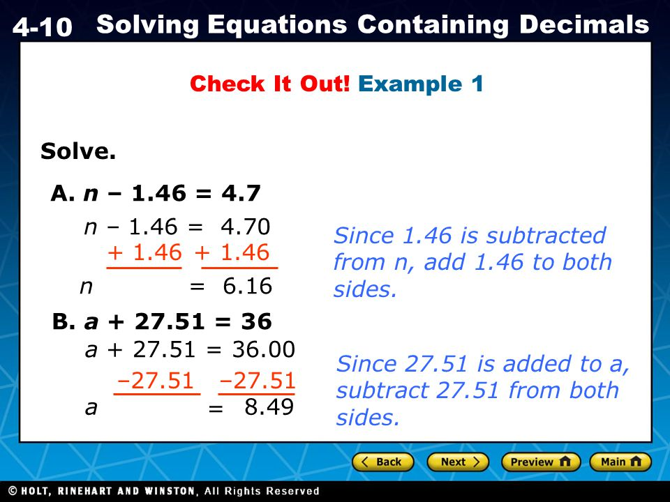 Holt CA Course 1 4-10 Solving Equations Containing Decimals Solve.