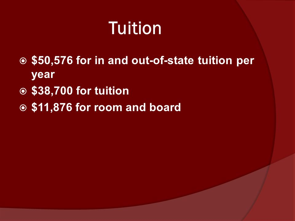 Tuition  $50,576 for in and out-of-state tuition per year  $38,700 for tuition  $11,876 for room and board