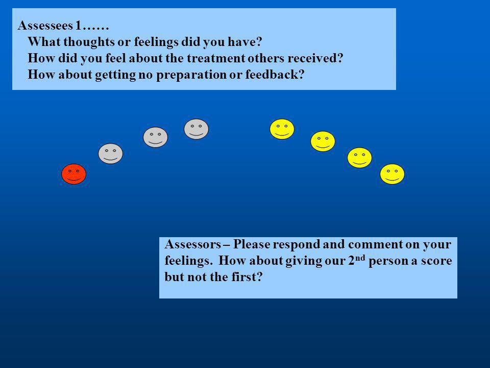 Assessors – Please respond and comment on your feelings. How about giving our 2 nd person a score but not the first?