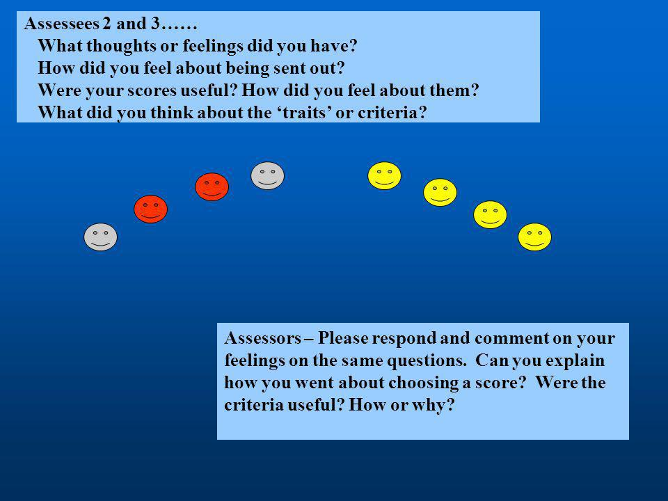 Assessees 2 and 3…… What thoughts or feelings did you have? How did you feel about being sent out? Were your scores useful? How did you feel about the