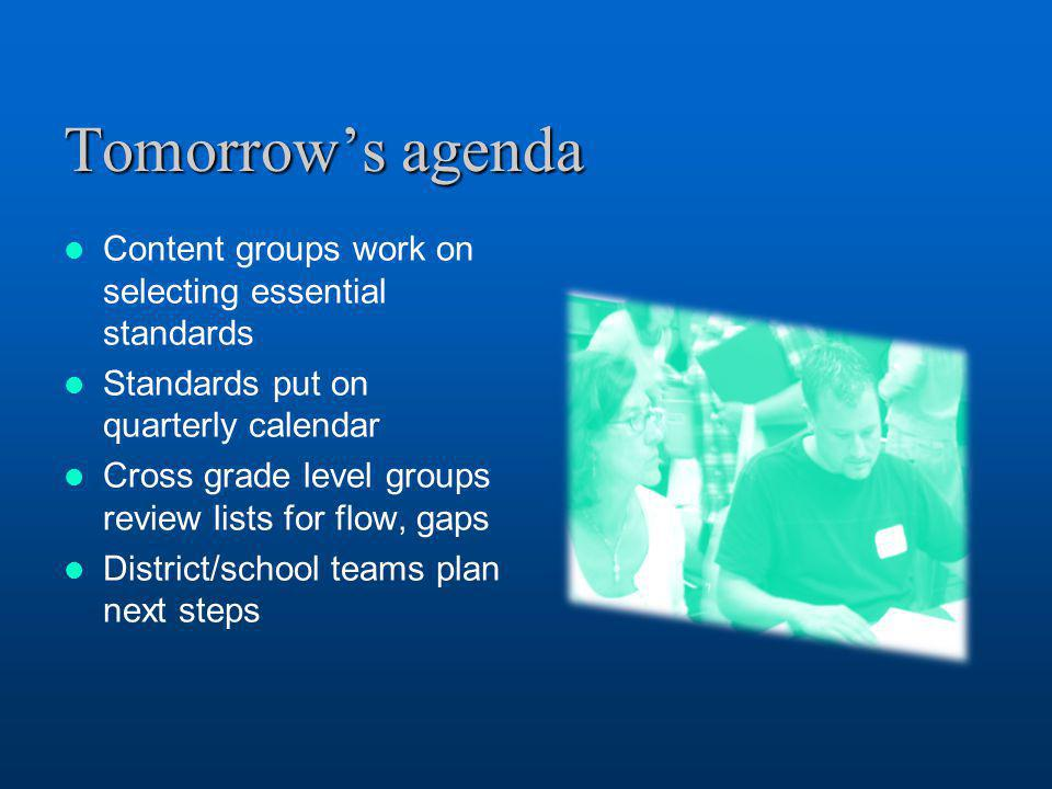 Tomorrow's agenda Content groups work on selecting essential standards Standards put on quarterly calendar Cross grade level groups review lists for f