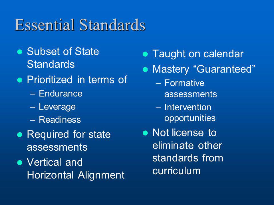 Essential Standards Subset of State Standards Prioritized in terms of –Endurance –Leverage –Readiness Required for state assessments Vertical and Hori