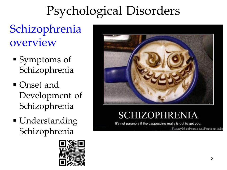 3 Schizophrenia The literal translation is split mind which refers to a split from reality.