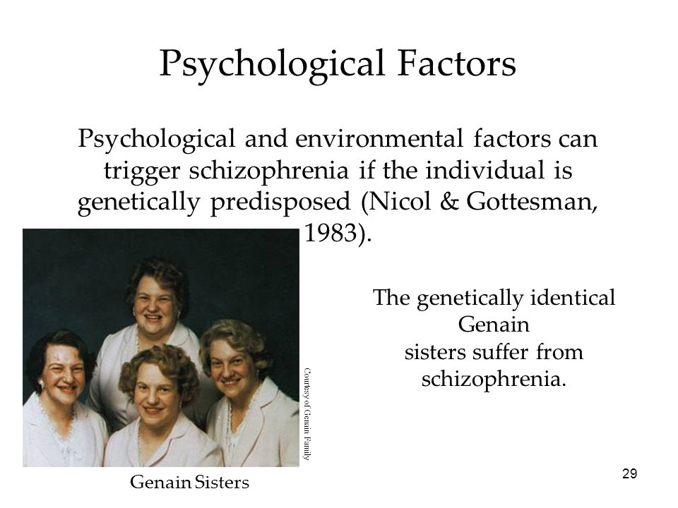 29 Psychological Factors Psychological and environmental factors can trigger schizophrenia if the individual is genetically predisposed (Nicol & Gotte