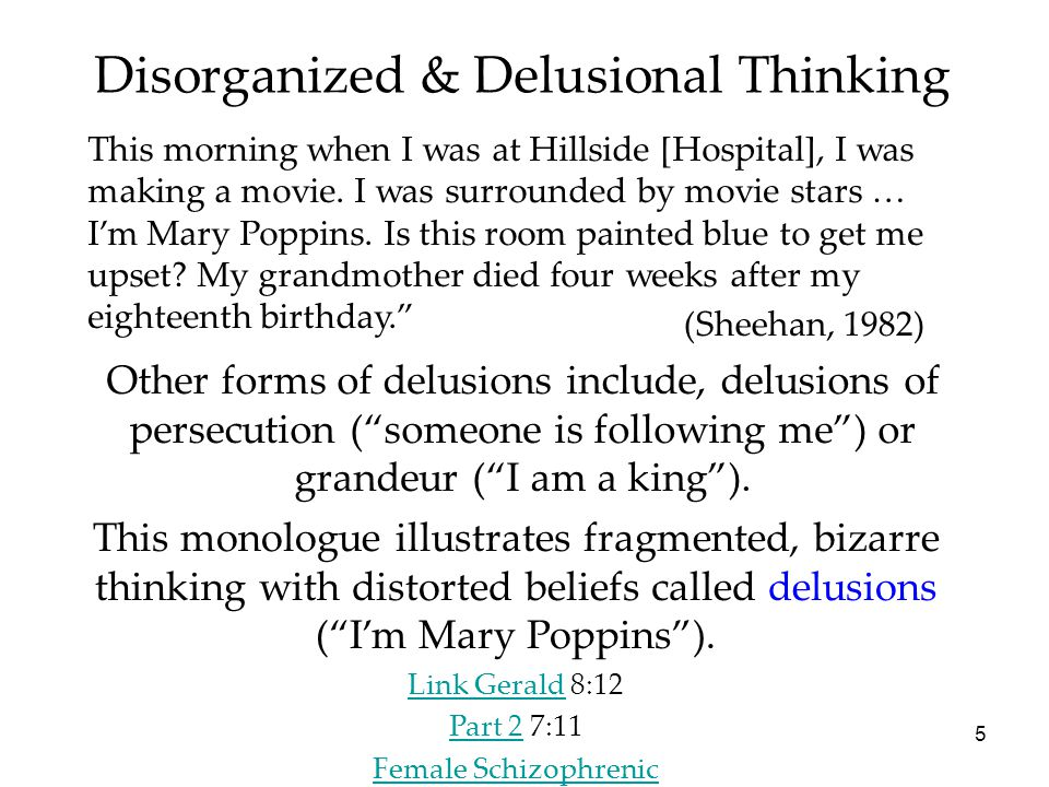 """5 Other forms of delusions include, delusions of persecution (""""someone is following me"""") or grandeur (""""I am a king""""). Disorganized & Delusional Thinki"""