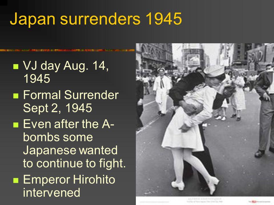 Japan surrenders 1945 VJ day Aug.