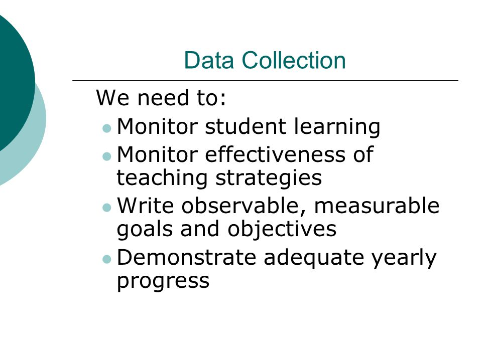 Data Collection We need to: Monitor student learning Monitor effectiveness of teaching strategies Write observable, measurable goals and objectives Demonstrate adequate yearly progress