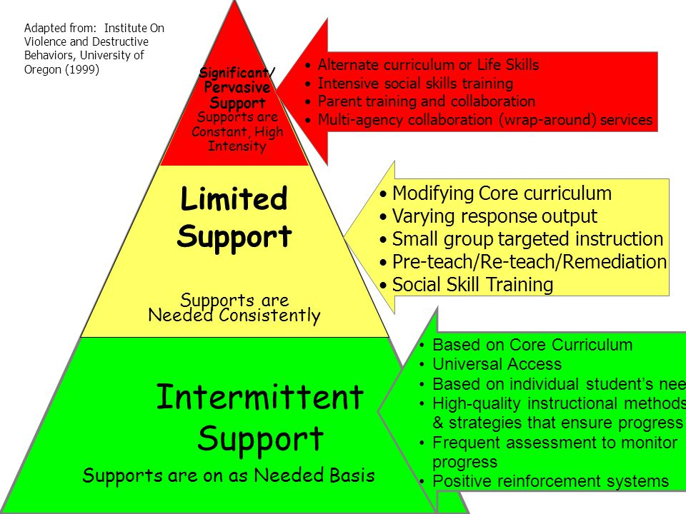 Significant/ Pervasive Support Supports are Constant, High Intensity Limited Support Supports are Needed Consistently Intermittent Support Supports are on as Needed Basis Alternate curriculum or Life Skills Intensive social skills training Parent training and collaboration Multi-agency collaboration (wrap-around) services Modifying Core curriculum Varying response output Small group targeted instruction Pre-teach/Re-teach/Remediation Social Skill Training Based on Core Curriculum Universal Access Based on individual student's need High-quality instructional methods & strategies that ensure progress Frequent assessment to monitor progress Positive reinforcement systems Adapted from: Institute On Violence and Destructive Behaviors, University of Oregon (1999)