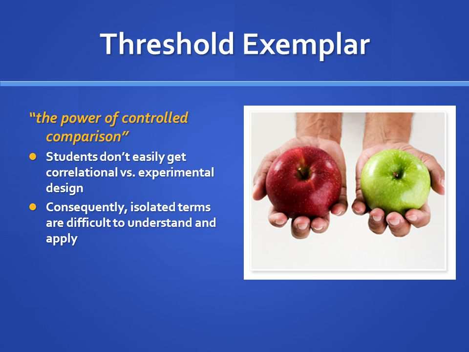 Threshold Exemplar the power of controlled comparison Students don't easily get correlational vs.