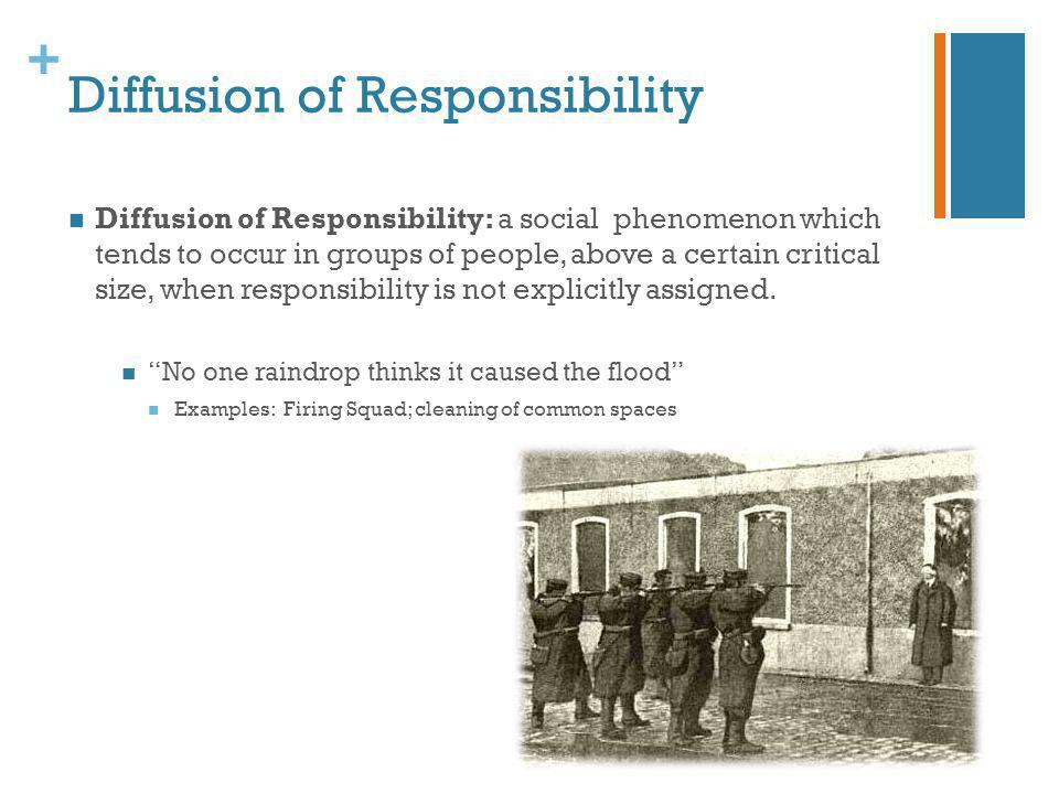 + Diffusion of Responsibility Diffusion of Responsibility: a social phenomenon which tends to occur in groups of people, above a certain critical size