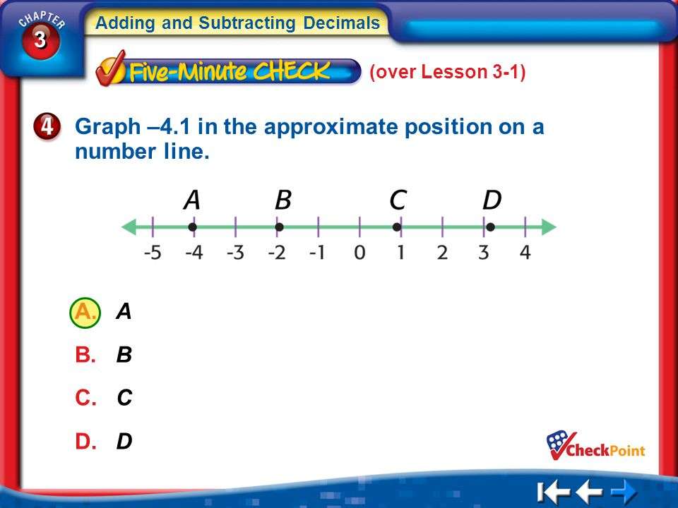 3 3 Adding and Subtracting Decimals 5Min 2-4 (over Lesson 3-1) Graph –4.1 in the approximate position on a number line. A. A B. B C. C D. D