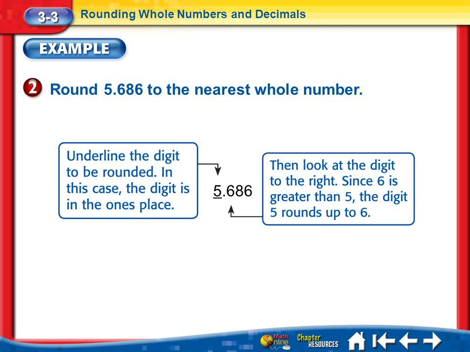 Lesson 3 Ex2 3-3 Rounding Whole Numbers and Decimals Round 5.686 to the nearest whole number. 5.686