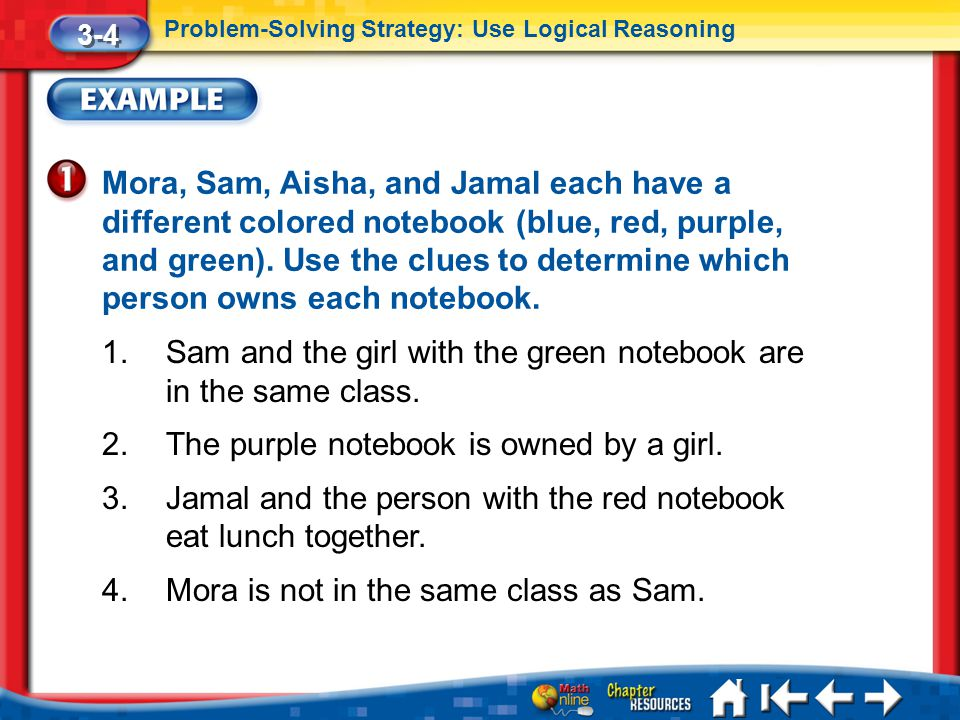 Lesson 4 Ex1 Mora, Sam, Aisha, and Jamal each have a different colored notebook (blue, red, purple, and green). Use the clues to determine which perso