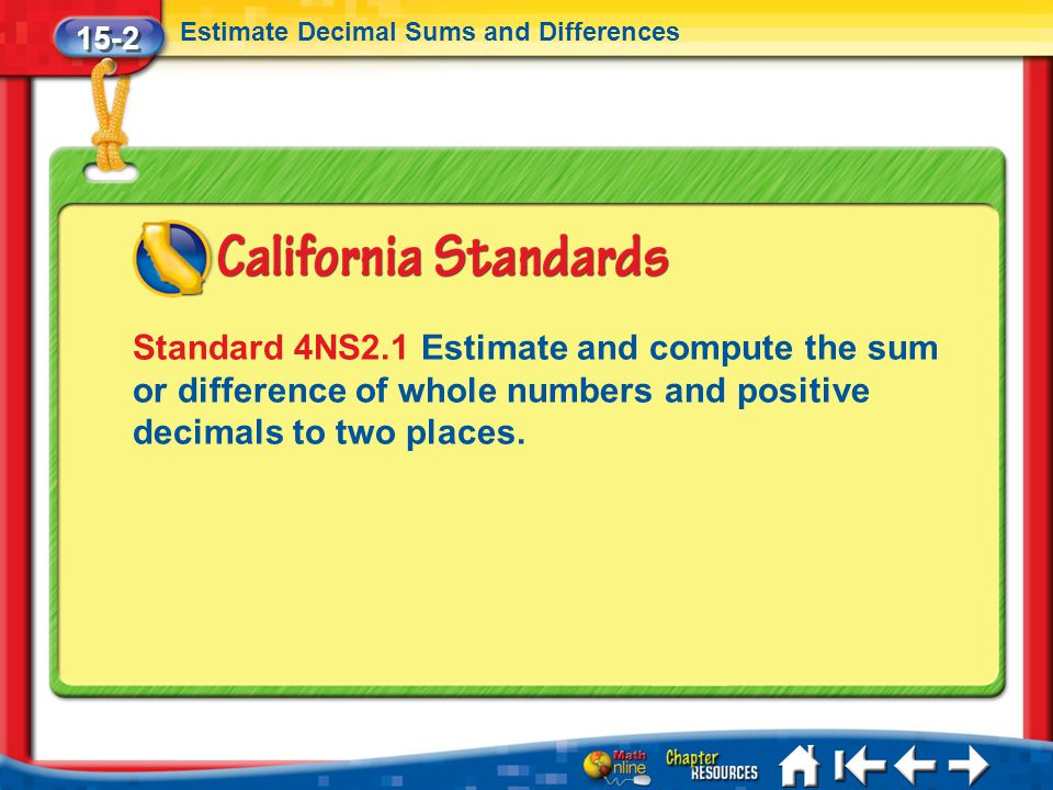 15-2 Estimate Decimal Sums and Differences Lesson 2 Standard 1 Standard 4NS2.1 Estimate and compute the sum or difference of whole numbers and positiv