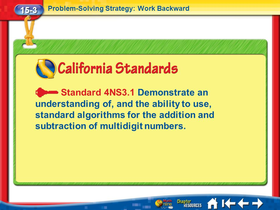 15-3 Problem-Solving Strategy: Work Backward Lesson 3 Standard 2 Standard 4NS3.1 Demonstrate an understanding of, and the ability to use, standard algorithms for the addition and subtraction of multidigit numbers.