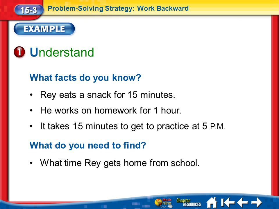 Lesson 3 Ex1 Understand What facts do you know.Rey eats a snack for 15 minutes.