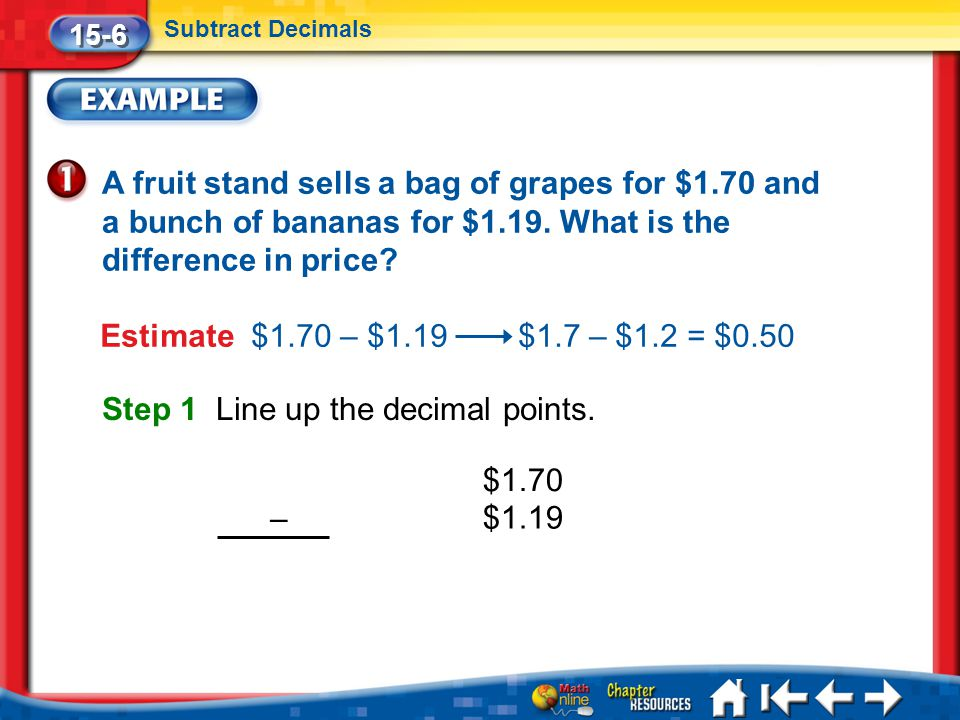 Lesson 6 Ex1 15-6 Subtract Decimals A fruit stand sells a bag of grapes for $1.70 and a bunch of bananas for $1.19.