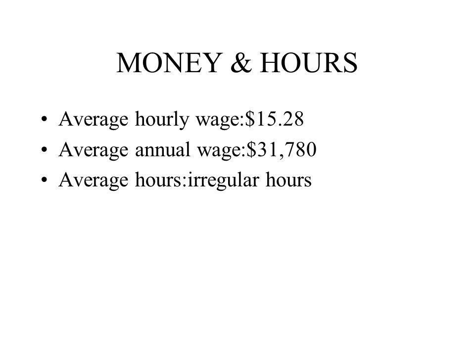 MONEY & HOURS Average hourly wage:$15.28 Average annual wage:$31,780 Average hours:irregular hours