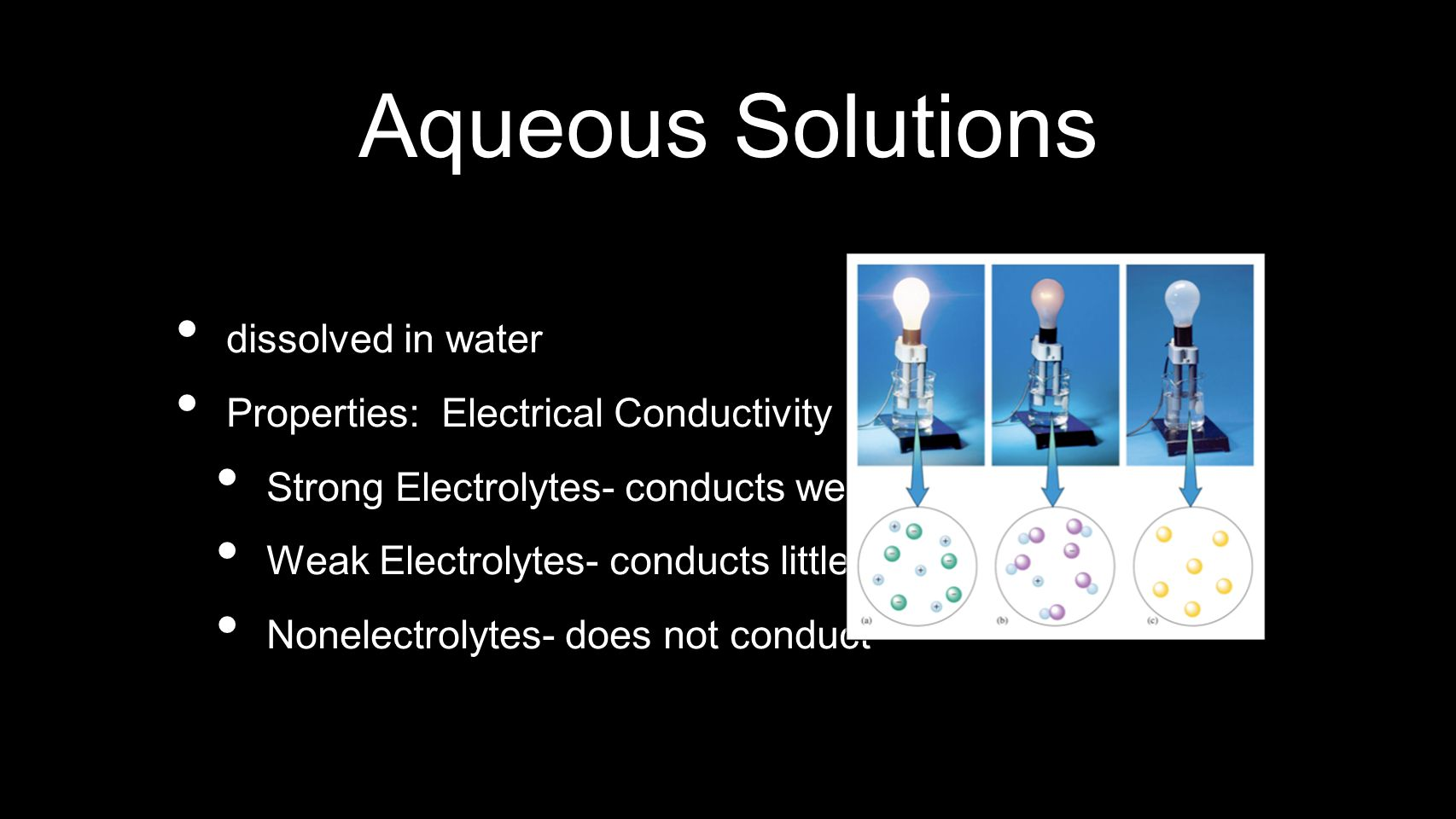 Aqueous Solutions dissolved in water Properties: Electrical Conductivity Strong Electrolytes- conducts well Weak Electrolytes- conducts little Nonelec