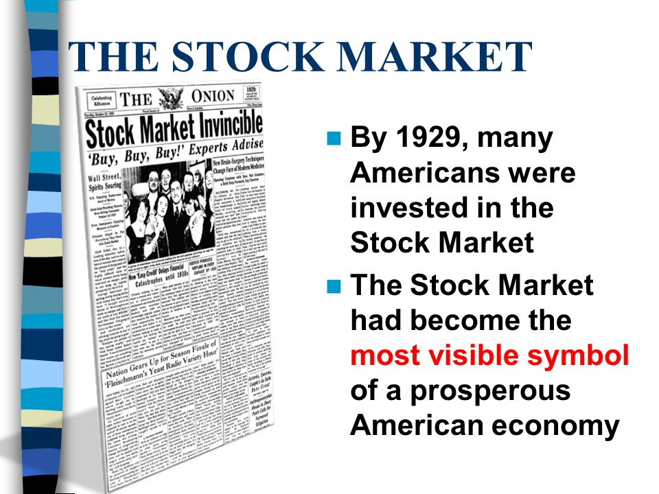 THE 1929 CRASH On October 29, now known as Black Tuesday, the bottom fell out 16.4 million shares were sold that day – prices plummeted People who had bought on margin (credit) were stuck with huge debts