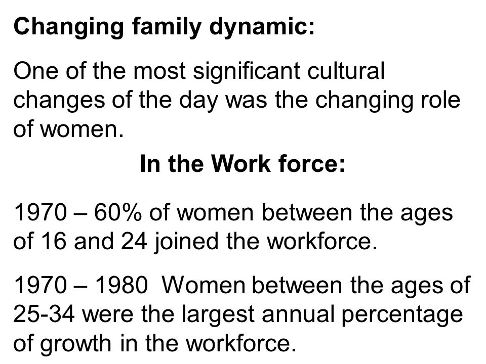 Changing family dynamic: One of the most significant cultural changes of the day was the changing role of women. 1970 – 60% of women between the ages