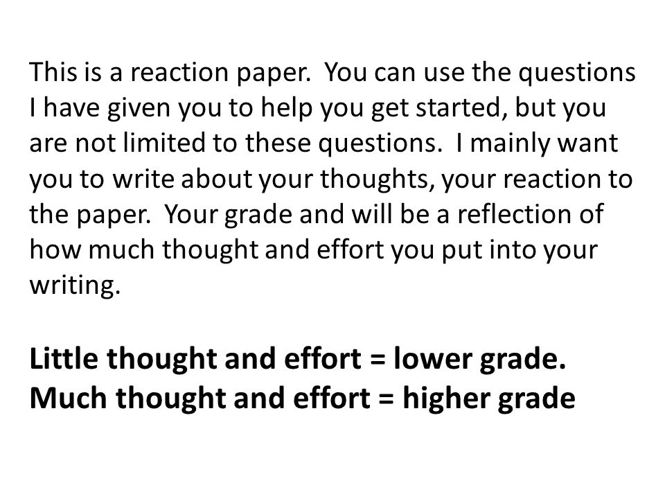 This is a reaction paper.
