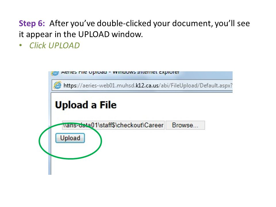 Step 6: After you've double-clicked your document, you'll see it appear in the UPLOAD window.